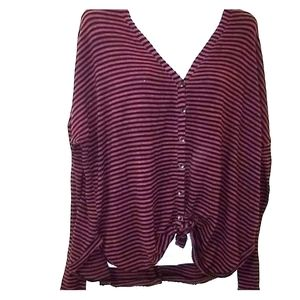 Out from under purple & Black striped Cardigan S
